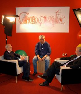 American Business at the Crossroads shoot. John Rice sits down with Eric Schmidt, Chairman of Google, and Host Jon Tisch.